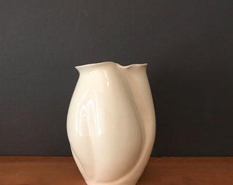 Handmade small sculptural vase-white