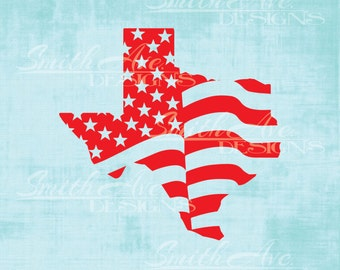 Texas American Flag SVG File, USA, Flag States, 4th of July, Independence Day Silhouette or Cricut File, Vinyl Cut File, .dxf .png .eps