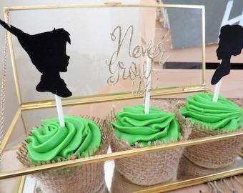 Neverland,peter pan cupcake toppers,neverland birthday, Peter Pan birthday,peter pan cupcake,peterpan,peter pan baby shower,tinkerbell,fairy