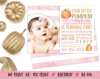 Our Little Pumpkin Invitation, Pumpkin 1st Birthday Invitation, Fall Birthday Invitation, Pumpkin First Birthday. Girl Pumpkin Invitation