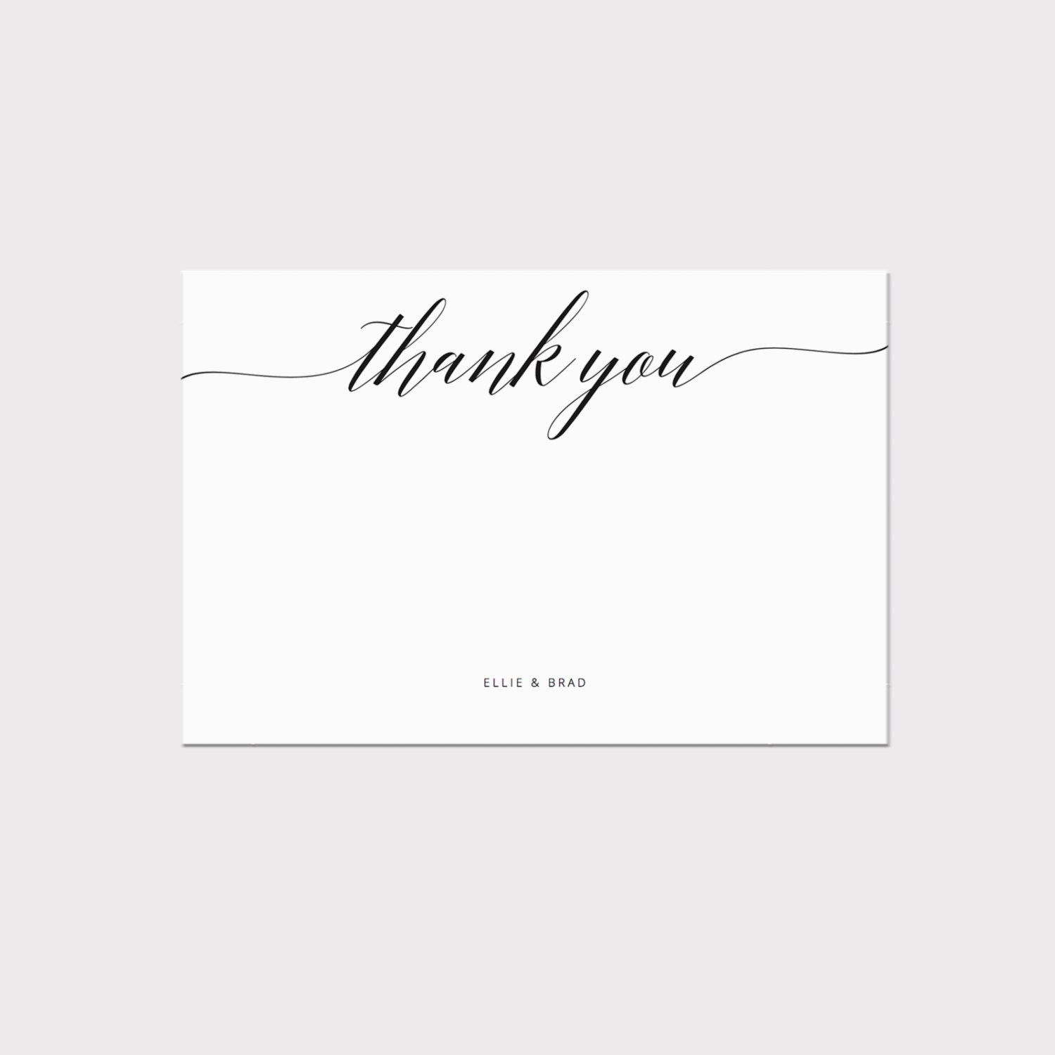 Printable thank you card template whimsical calligraphy