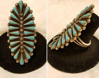Beautiful long Zuni petit point ring