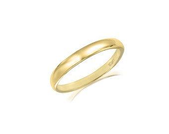 10K Solid Yellow Gold Regular Fit Plain Wedding Band Ring 2.0mm Size 5-13 - Polished