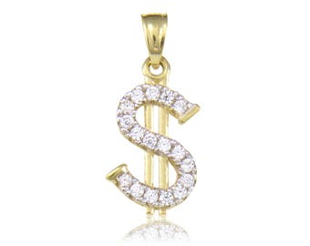 10K Solid Yellow Gold Cubic Zirconia Dollar Sign Pendant - Money Necklace Charm