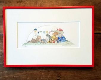 Gerda Bleeksma watercolor etching, Original art, etching, Gerda Bleeksma, Childrens art