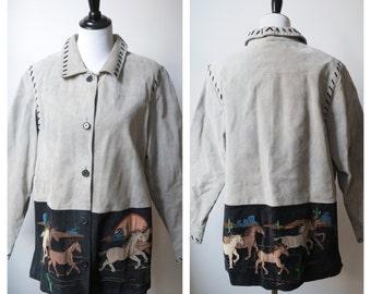 Large Western leather coat/jacket gray/ southwestern sunset horse print/ Arizona sunset/ novelty print