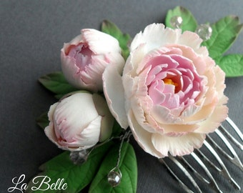 Comb with peonies, polymer clay flowers, wedding accessories,