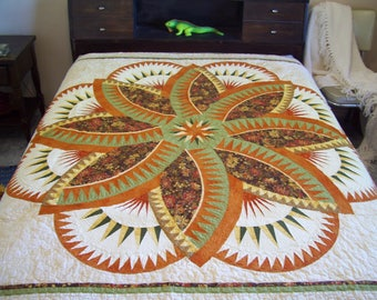 Queen size Quilt, earth fire and water, heavily quilted, queen bed quilt green and golds,dark peach free shipping