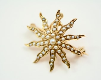 Victorian 14K Gold and Seed Pearl Starburst Brooch/Pendant