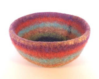Teal and orange felted bowl