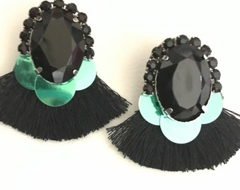 Alicante earrings (black and green)