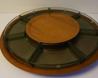 Teak Tray- Plywood - Maleras Sweden- 50s- 60s - Lazy Susan - Round - 7 bowl - Mid Century vintage retro