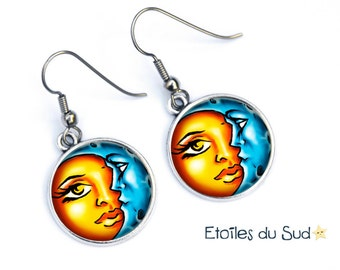 Dangle earrings meets Moon and Sun, surgical steel hooks, ref.35