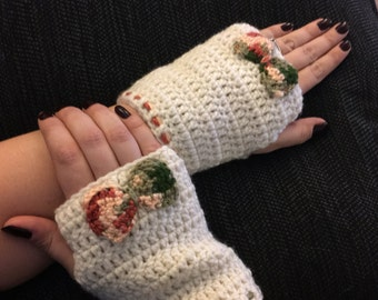 Crochet, Fingerless Gloves, Winter Gloves, Girly Bow