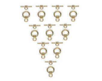 Gold Toggle Clasps, 9mm, 10 Sets