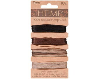 Hemp Cord Set, 4 Colors, Assorted Earthy Colors, 10lb, 42' (12.8m) per Color