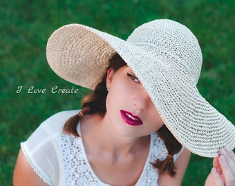 Summer hat with wide brim/ sun hat/ raffia hat/ boho hat