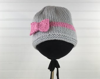 Grey and Pink Knit Baby Hat with Knit Pink Bow