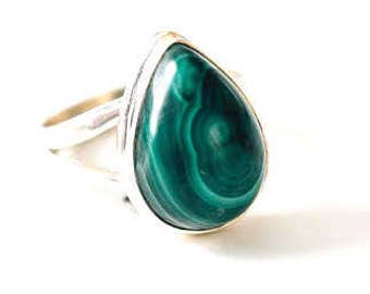 All Natural Malachite • solid sterling SILVER • Graphic • Ring • Size 5 1/2