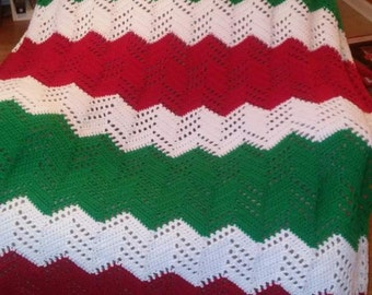 Crochet Chevron Christmas Afghan.