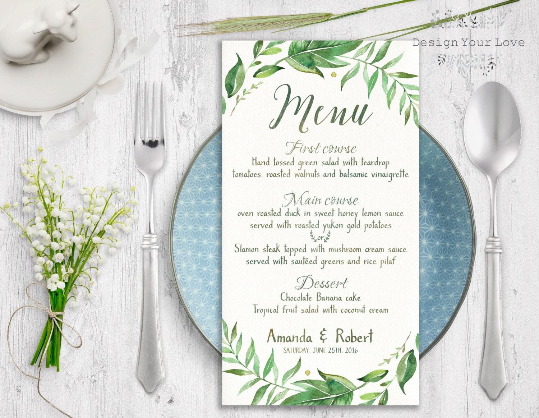 menu template leafy wedding menu printable wedding menu green wedding menu greenery wreath wedding menu leafy wreath menu watercolor greenery printable