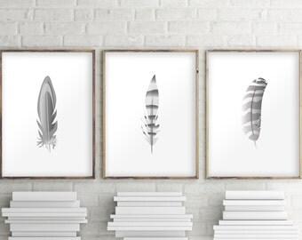 Set of 3 prints, Triptych wall art, Wall art set, Feather print, Boho print, Feather art, Feather illustration, Set of 3 wall art, 109