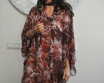 Tunic, glamorous animalprint in cherry/peach colors, medium length