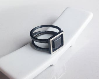 Mondrian-03: square - oxidized and polished sterling silver ring.