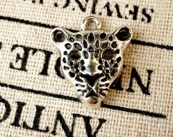 Leopard face 15 charms silver  jewellery supplies C187