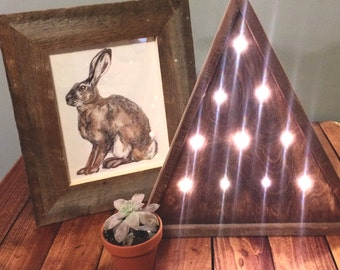 Battery powered light-up wooden triangle trees/mountain