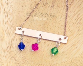 Rose Gold Bar Necklace with Family Birthstones, Mother's Necklace, Family Jewelry, Birthstone Charm Necklace, Mom Birthstone Necklace