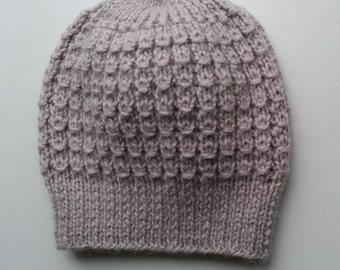 Handmade knitted hat, women, wool, mohair, S-M (54-56 cm)