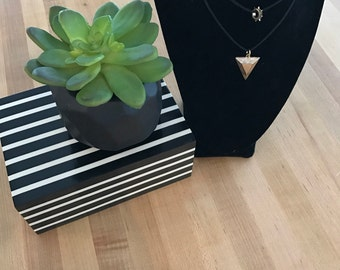 Black silk rope choker with arrowhead pendant