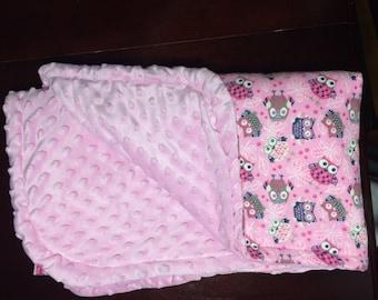 Pink Flannel Owl Baby Blanket.