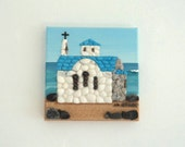 Acrylic Painting, Artwork with Seashells & Sand, Small Chapel by the Sea in Seashell Mosaic on Sand, Mosaic Art, 3D Art Collage, Wall Decor