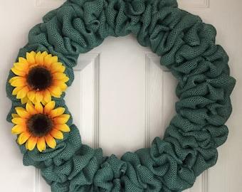 Burlap Sunflower Wreath - Fall Burlap Wreath - Fall Wreath for Front Door - Yellow Sunflower Wreath - Front Door Decor - Autumn Wreath