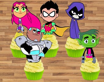 Teen Titans Go Inspired Cupcake Toppers Teen Titans Go Cake Toppers Teen Titans Go Birthday Decoration Teen Titans Go Cupcake Toppers