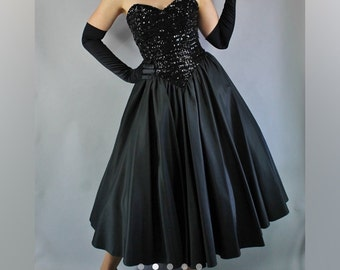 Vintage 80's BLACK TAFFETA DRESS, Strapless, Size Small