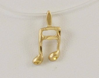 14k Yellow Gold Musicial Note Charm/pendant(01055)