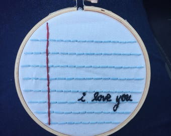Notebook Paper Embroidery Hoop