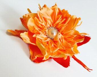 Orange Flower accessories Woman Flower Brooch Orange Flower accessory Flower Bridal boho Flower Woman brooch Boho wedding Boho gift Gift mom