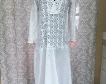 Boho Beach Wedding Dress, Sheer White Lace Dress, Boho Hippie White Lace Dress, Boho Wedding Dress, eco wedding dress, Hippie wedding dress