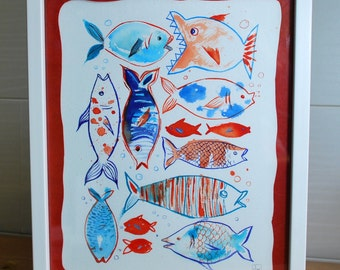 Fish, original painting