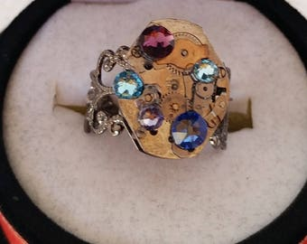 Steampunk Swarovski Ring