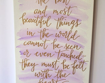 Helen Keller Hand Lettered Quote Canvas
