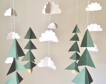 Tree mobile, camping mobile, woodland mobile, cloud mobile, camping bedroom, boys room, rustic nursery, mountain nursery, baby boy mobile