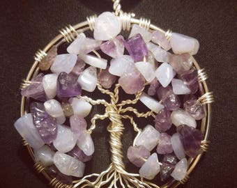 Tree Of Life With Crazy Lace Agate & Amethyst