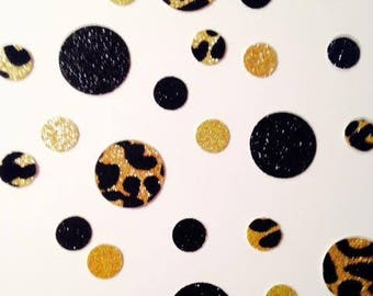 CONFETTI leopard-print circles with black and gold circles too!  Two different sizes - very pretty!