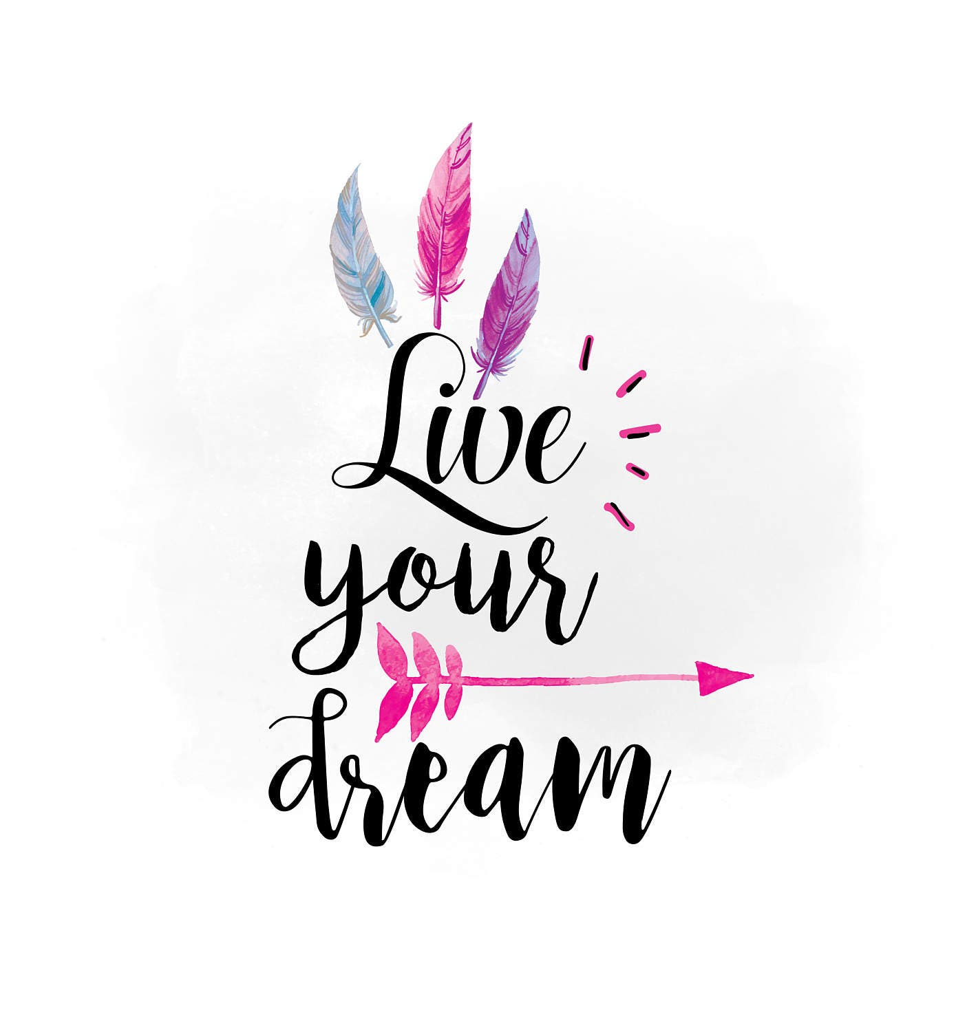 Live Your Dream Svg Clipart Boho Feathers Arrow Clipart
