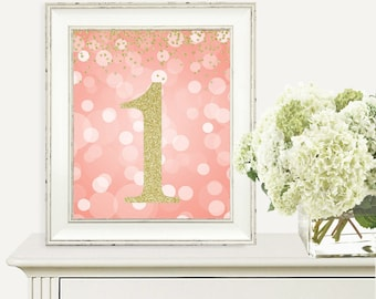 Coral & Gold Glitter, Birthday Print, 1st Birthday Party Sign, Number 1, 1st Birthday Party, First Birthday, Printable Party Decorations